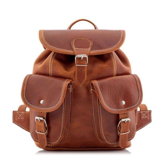 elegancki plecak damski brązowy wloski